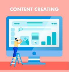 Website content creating flat social media banner vector