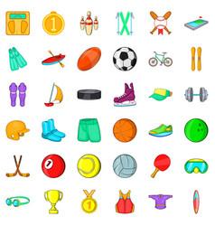Wellness icons set cartoon style vector