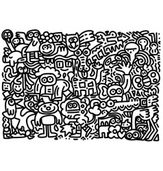 Wild life doodle icons hand made vector