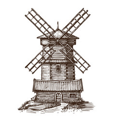 windmill wooden old mill sketch vintage vector image