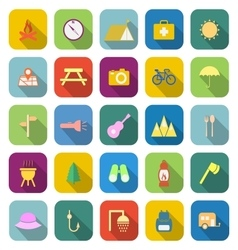 Camping color icons with long shadow vector image