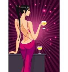 girl lady black hair standing back on the club vector image