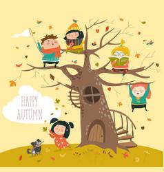 happy children sitting on tree in autumn park vector image vector image