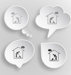 Home cat White flat buttons on gray background vector image