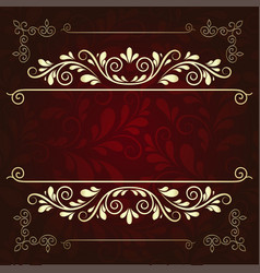 luxurious gold pattern frame on a dark burgundy vector image vector image