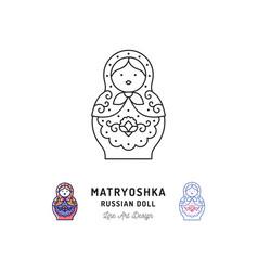 matryoshka icon russian nesting doll thin line art vector image
