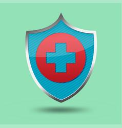 red cross shield symbol icon vector image