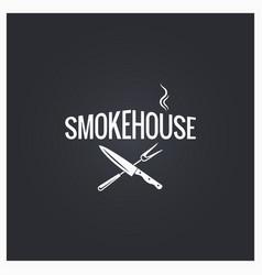 smokehouse cooking logo design background vector image