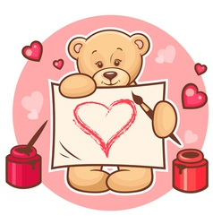 valentine teddy with sign vector image