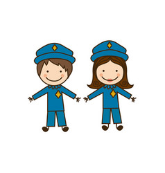 colorful caricature couple cops costume vector image vector image