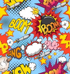 Comic book explosion seamless pattern vector image vector image