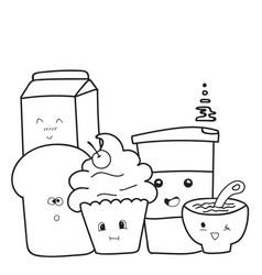 funny cute of hand drawn breakfast cartoon vector image