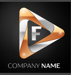 letter f logo symbol in the colorful triangle on vector image