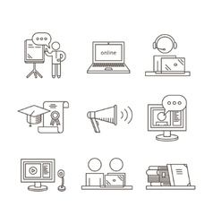 Outline webinar icon set Online training and vector image