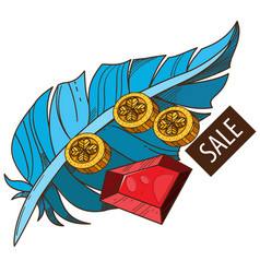 sale feather ruby and coins colored for design vector image