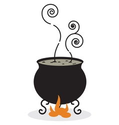 Silhouette of cauldron and fire vector