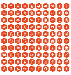 100 children icons hexagon orange vector image vector image