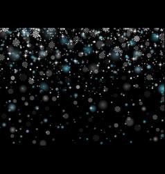 beautiful snowfall falling shining snowflakes and vector image vector image