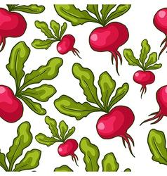 Cute seamless hand drawn radish background vector image vector image