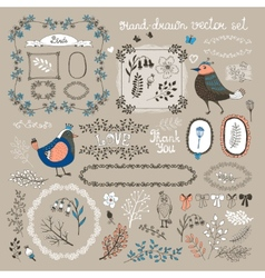 birds twigs and flowers vector image