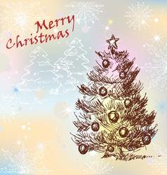 christmas vintage tree vector image vector image