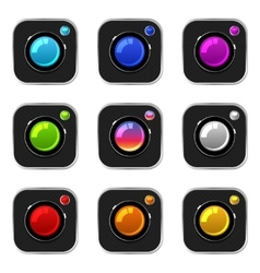 Colorful Camera Icons vector image