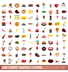 100 event agency icons set flat style vector