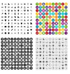 100 winner icons set variant vector