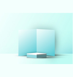 3d realistic square podium with blue folding vector