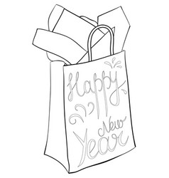 a coloring bookpage a christmas bag with gifts vector image