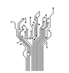 Abstract circuit tree with shadow vector image