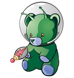 alien teddy bear cartoon character vector image