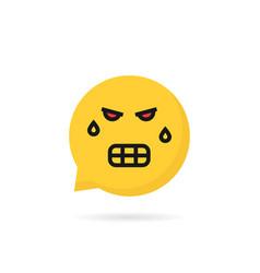 Angry emoji speech bubble logo vector