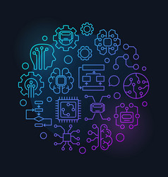 Artificial intelligence round colorful vector