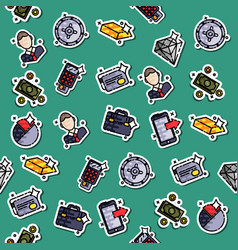 bank icons pattern vector image
