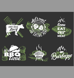 barbecue quotes hand lettering typography vector image