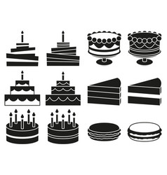 black and white 12 desserts silhouette set vector image