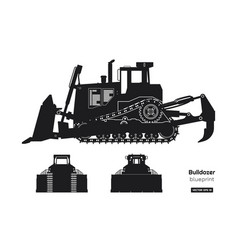 black silhouette of bulldozer vector image