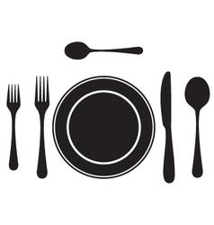 Black silhouettes cutlery tableware vector