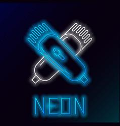 Blue glowing neon line crossed electrical hair vector