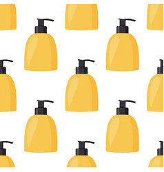 Bottle with liquid soap simple seamless pattern vector