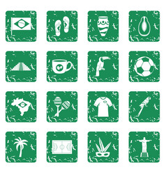 brazil travel symbols icons set grunge vector image