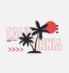 california t-shirt design with palm trees vector image