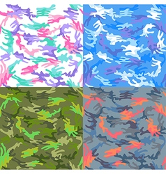Camouflage seamless spots pattern background set vector