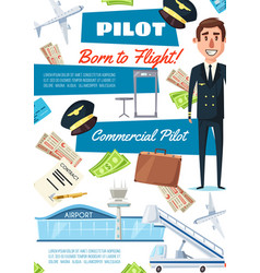 Career of pilot hiring aviator recruitment vector