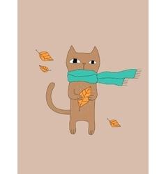 Cartoon Cat In Scarf vector image