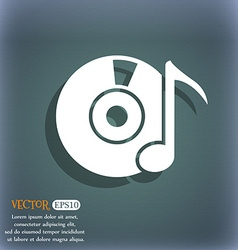 Cd player icon sign on the blue-green abstract vector