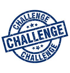 challenge blue round grunge stamp vector image