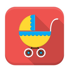 Children buggy app icon with long shadow vector