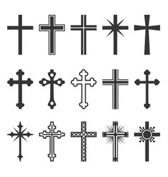 Christian cross icons set on white background vector